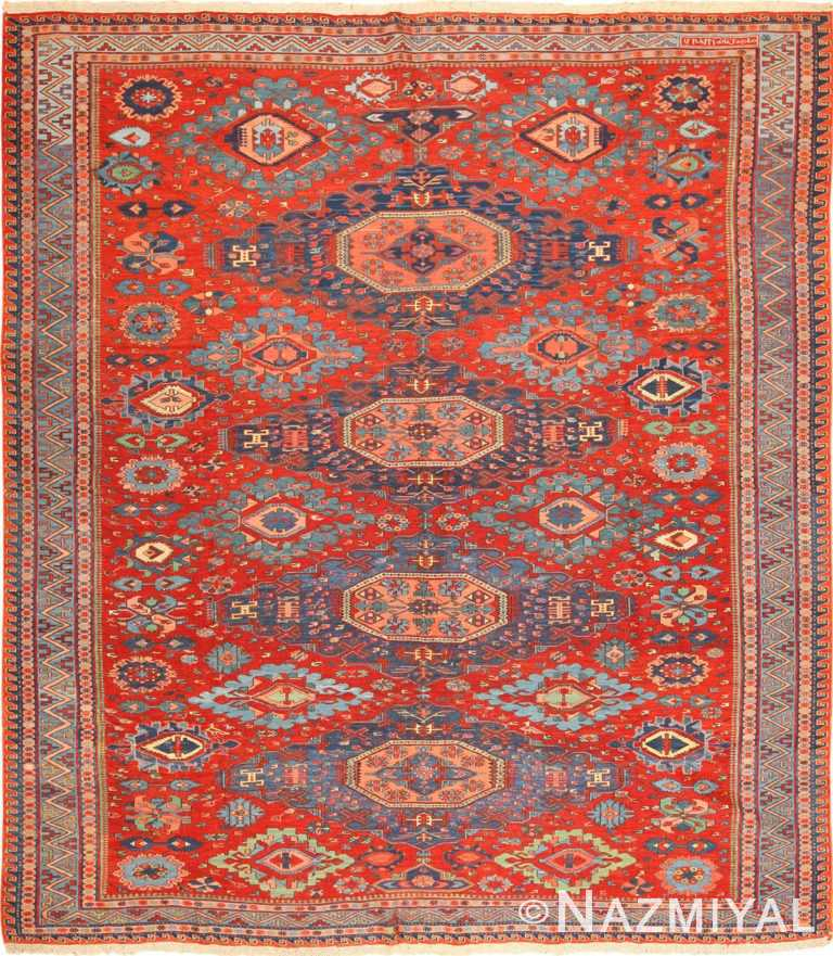 Antique Flat Woven Tribal Caucasian Soumak Rug #49345 by Nazmiyal Antique Rugs
