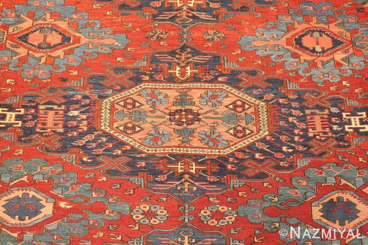 antique tribal soumak caucasian rug 49345 medallion Nazmiyal
