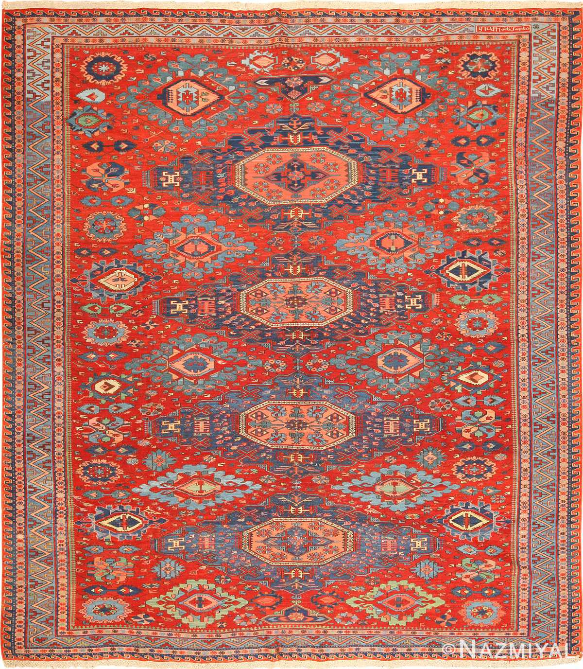 antique tribal soumak caucasian rug 49345 Nazmiyal