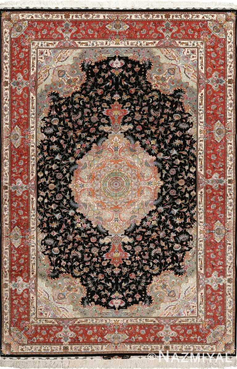 black background vintage tabriz persian rug 51127 Nazmiyal
