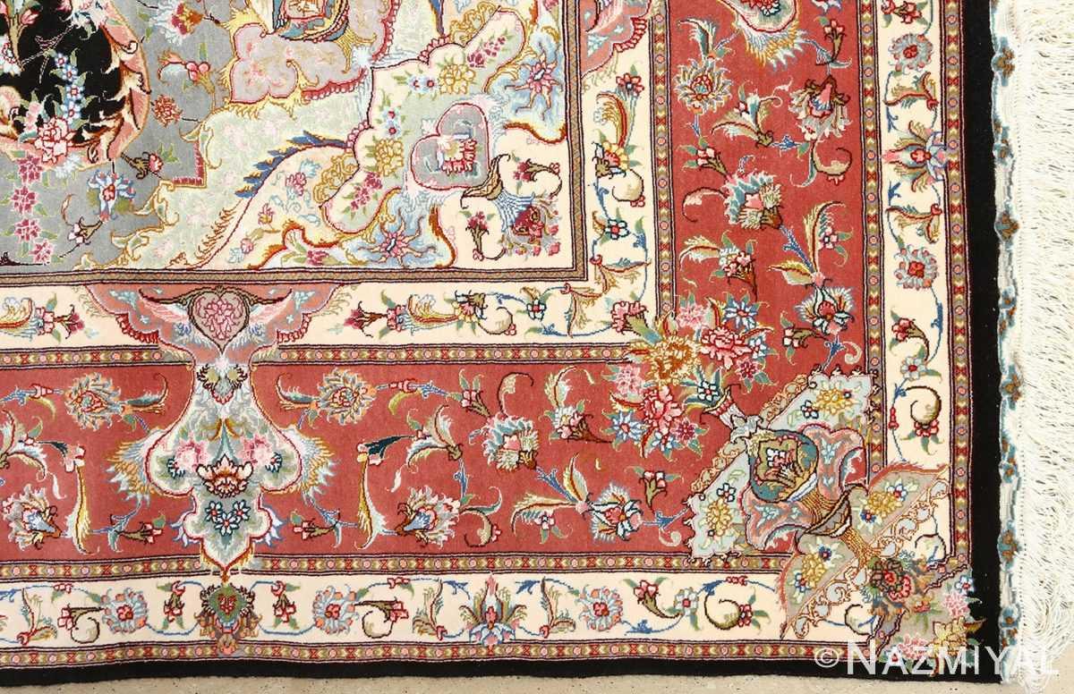 black background vintage tabriz persian rug 51127 corner Nazmiyal