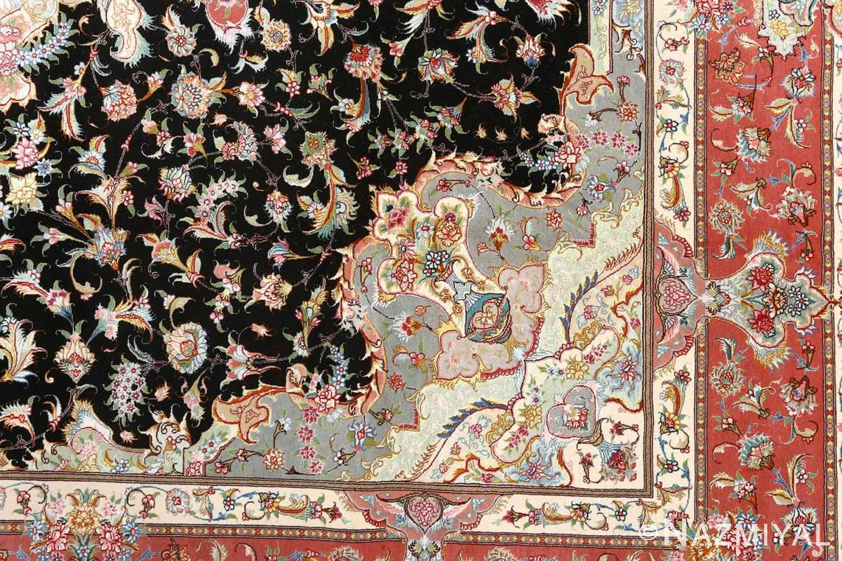black background vintage tabriz persian rug 51127 design Nazmiyal