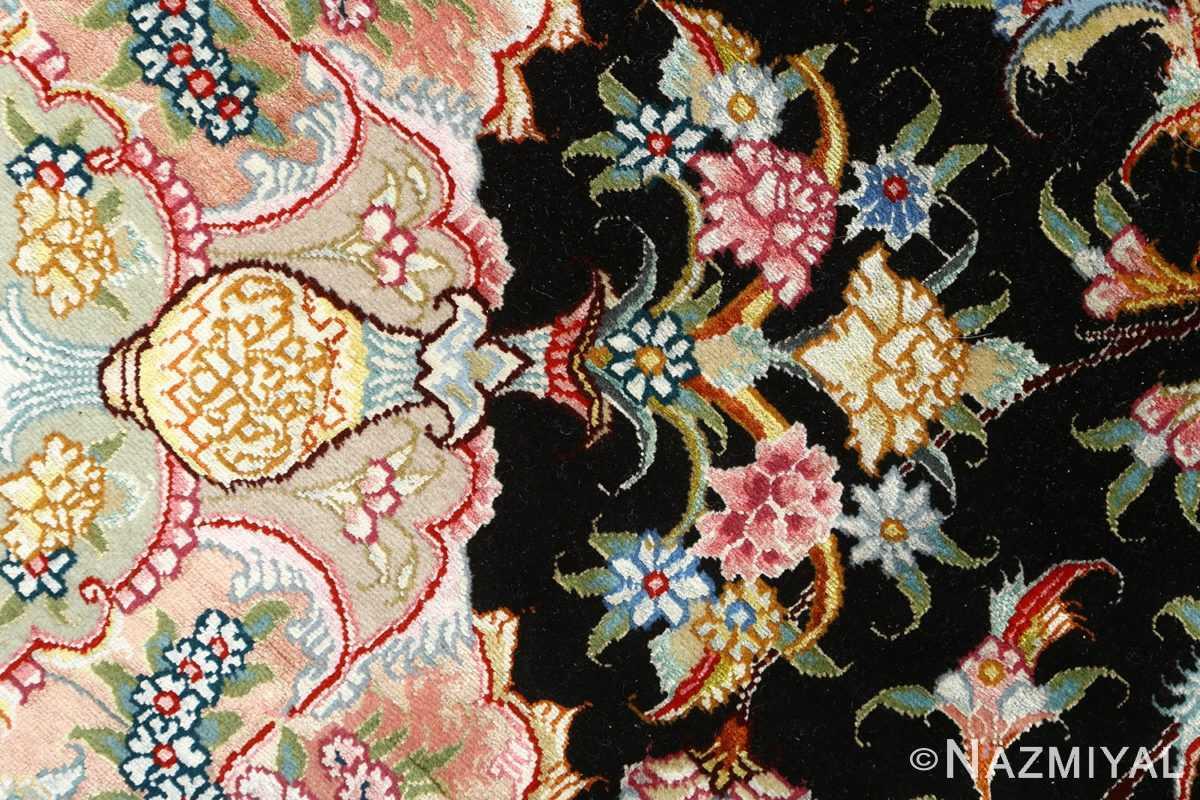 black background vintage tabriz persian rug 51127 vase Nazmiyal