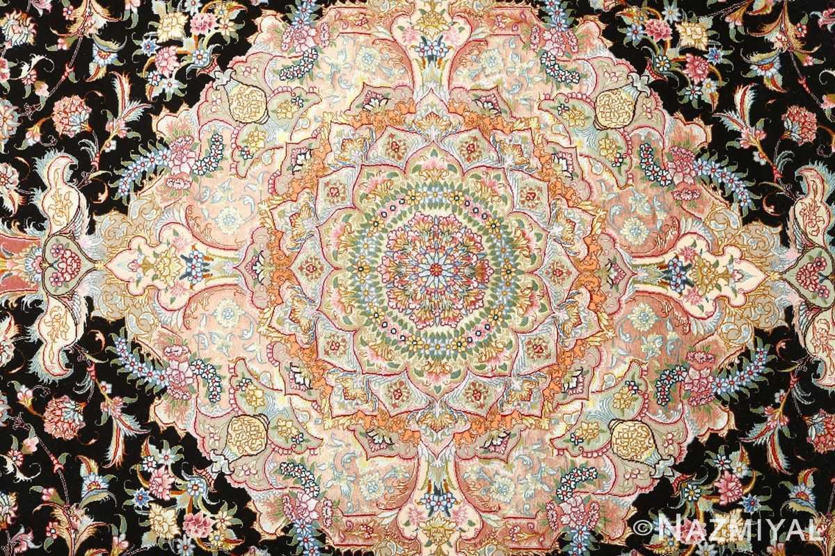 black background vintage tabriz persian rug 51127 medallion Nazmiyal