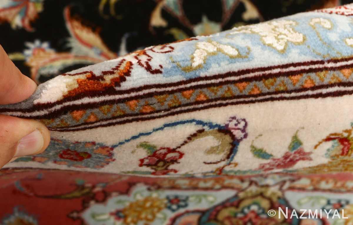 black background vintage tabriz persian rug 51127 pile Nazmiyal