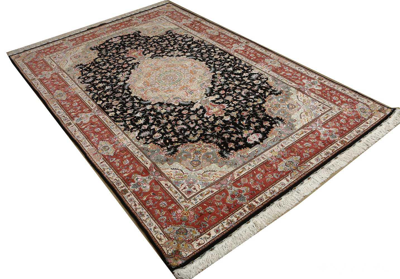 black background vintage tabriz persian rug 51127 side Nazmiyal