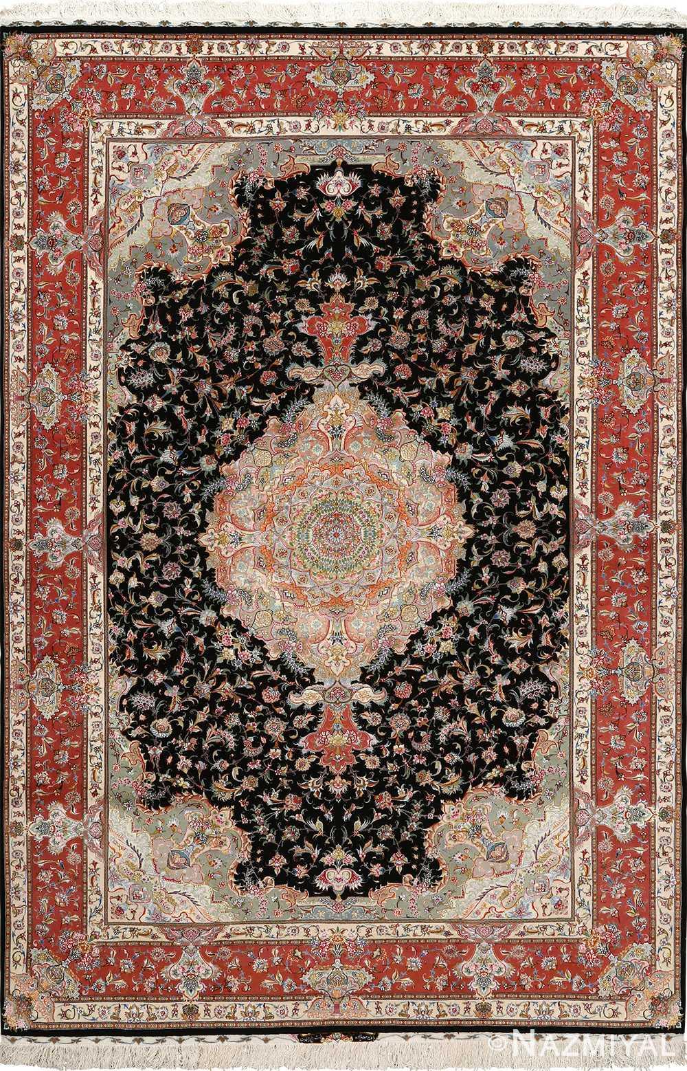 black background vintage tabriz persian rug 51127 Nazmiyal