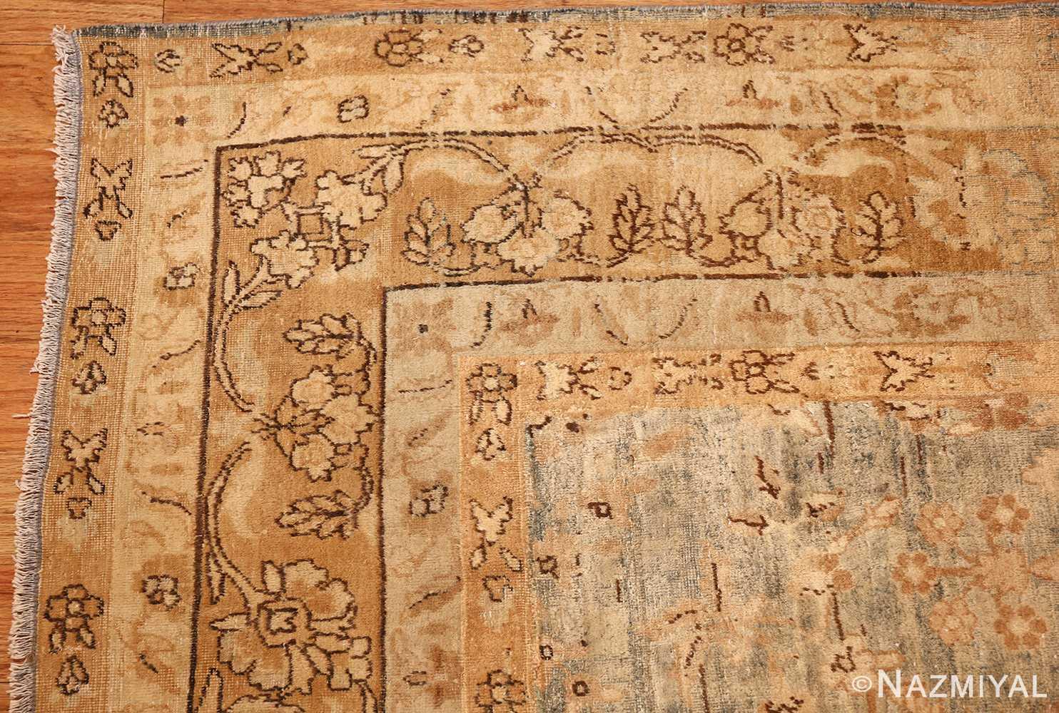 blue background antique kerman persian rug 49336 corner Nazmiyal