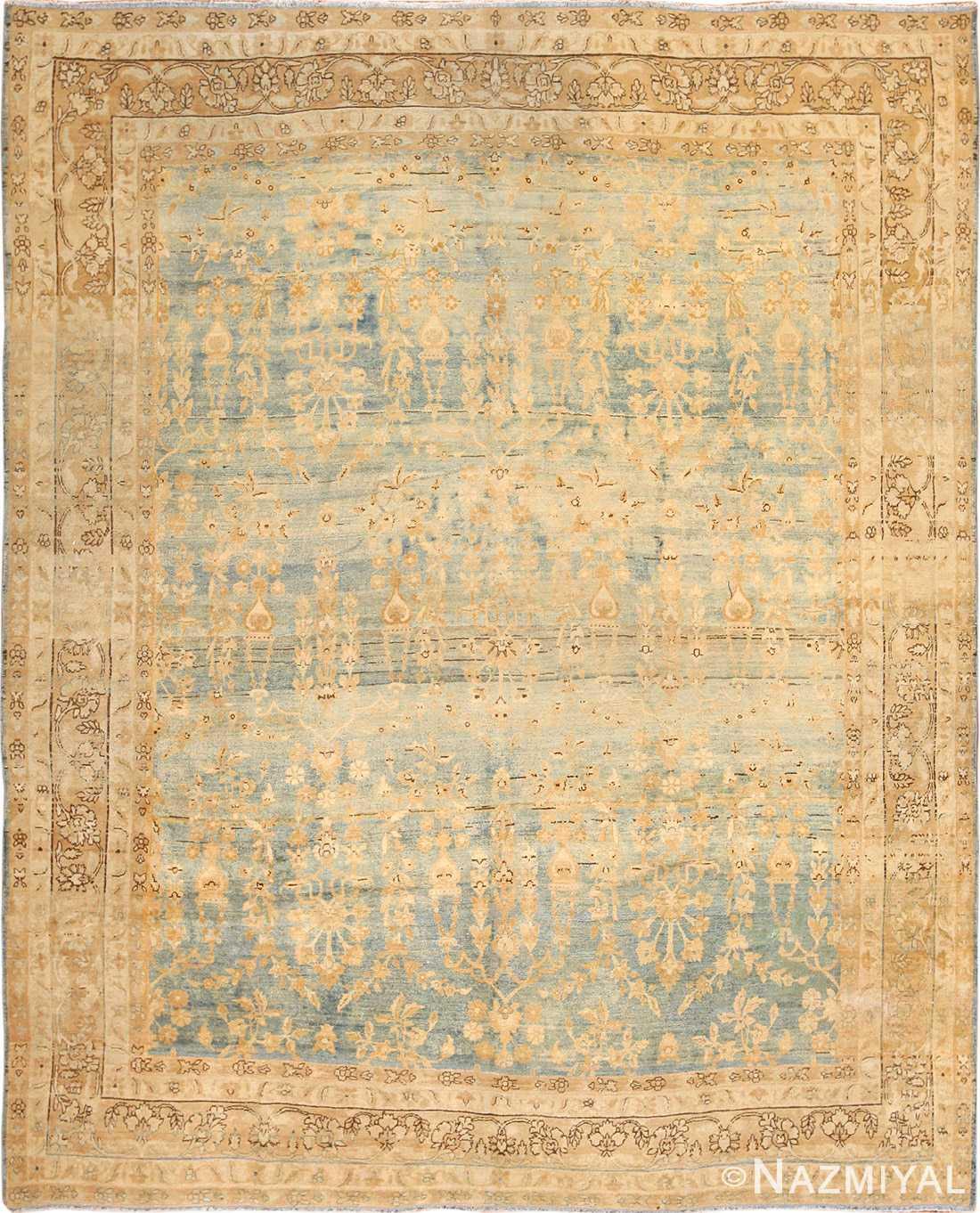 blue background antique kerman persian rug 49336 Nazmiyal