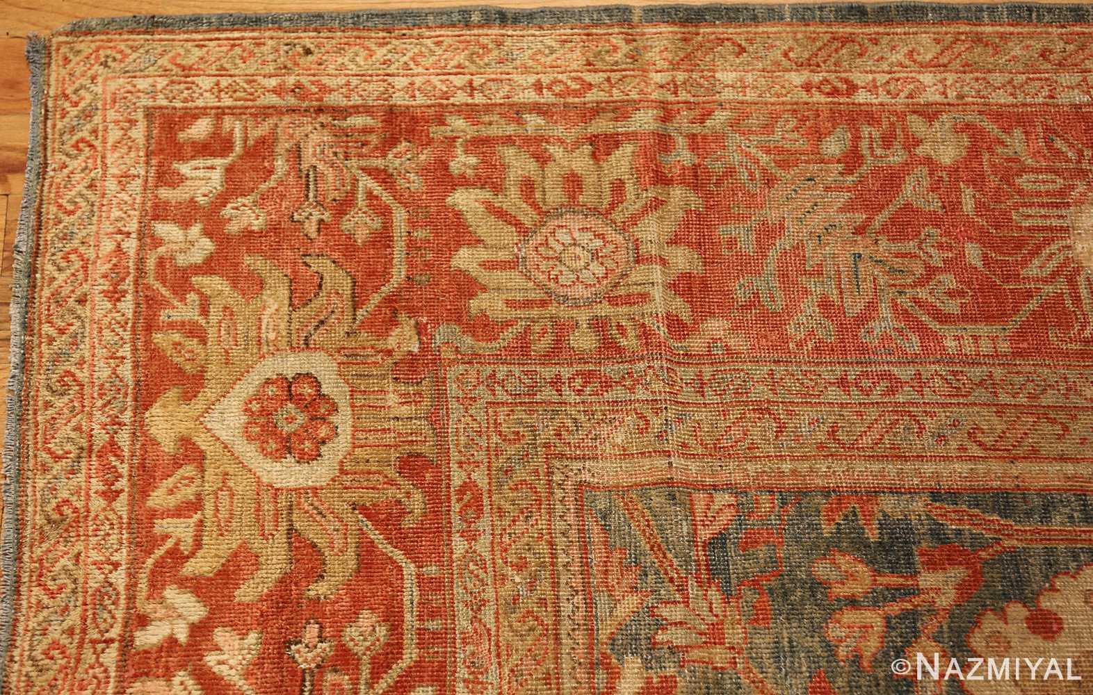 blue background antique sultanabad persian rug 49320 corner Nazmiyal