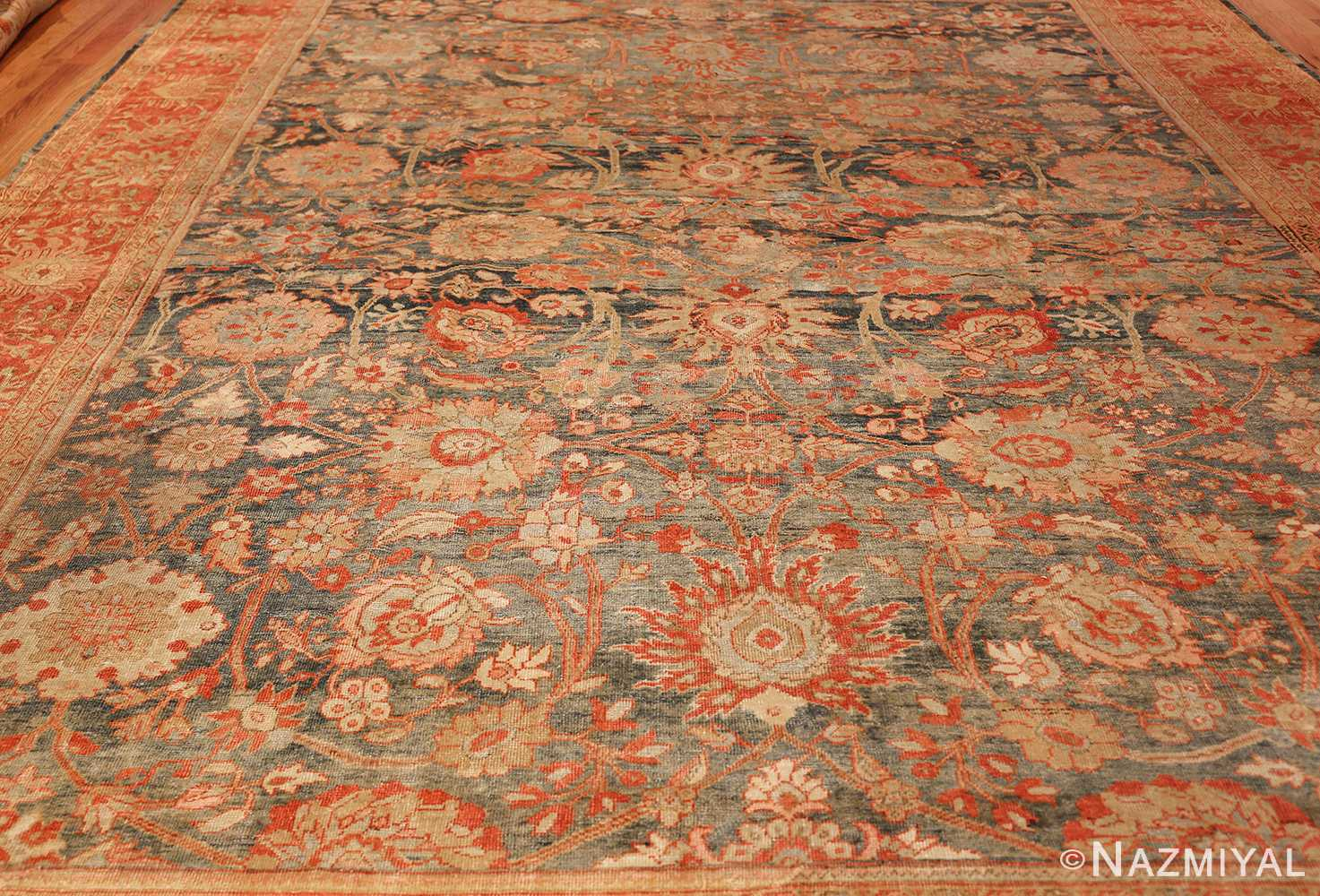blue background antique sultanabad persian rug 49320 field Nazmiyal