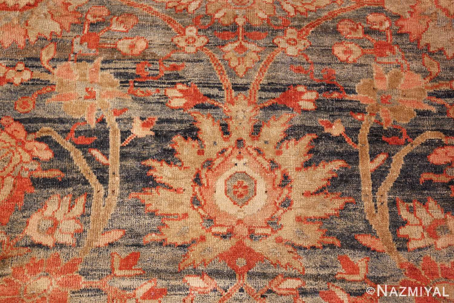 blue background antique sultanabad persian rug 49320 gold Nazmiyal