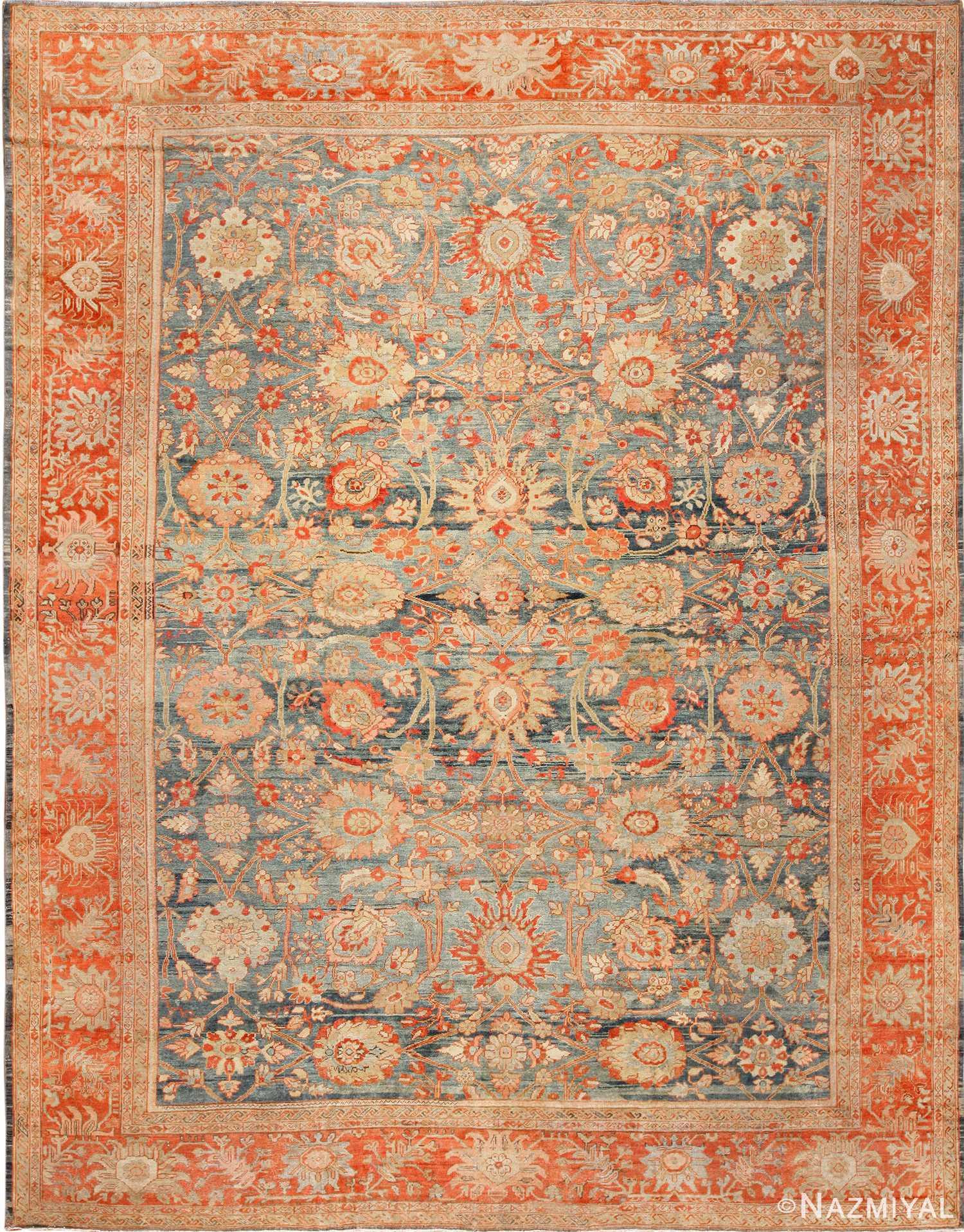 blue background antique sultanabad persian rug 49320 Nazmiyal