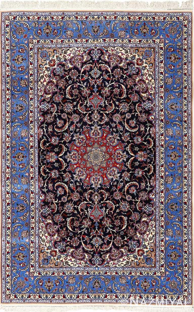 dark navy vintage isfahan persian rug 51141 Nazmiyal