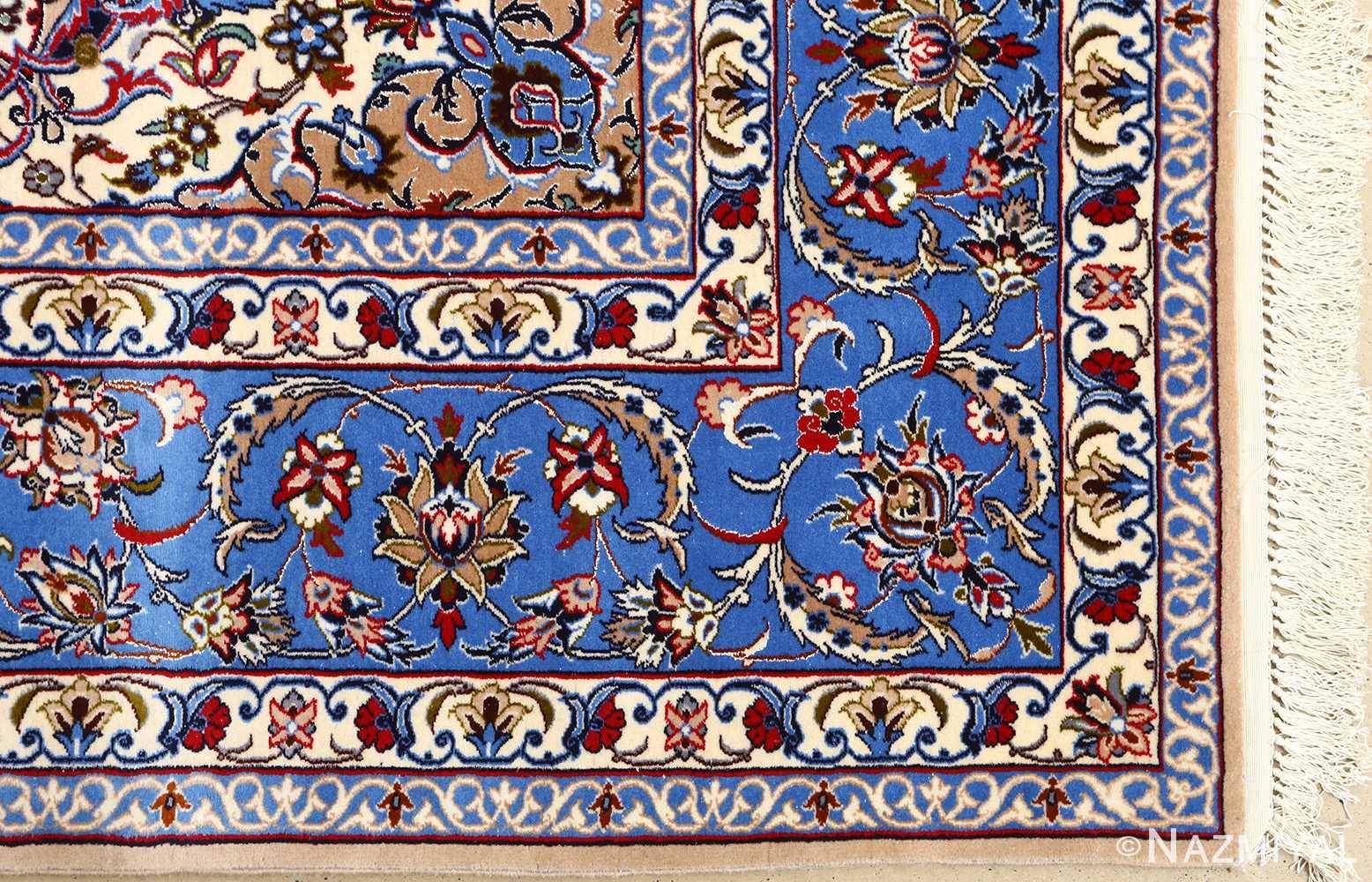 dark navy vintage isfahan persian rug 51141 corner Nazmiyal