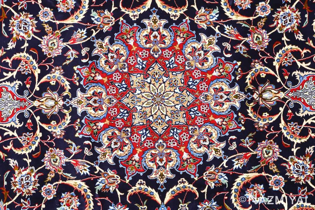 dark navy vintage isfahan persian rug 51141 medallion Nazmiyal