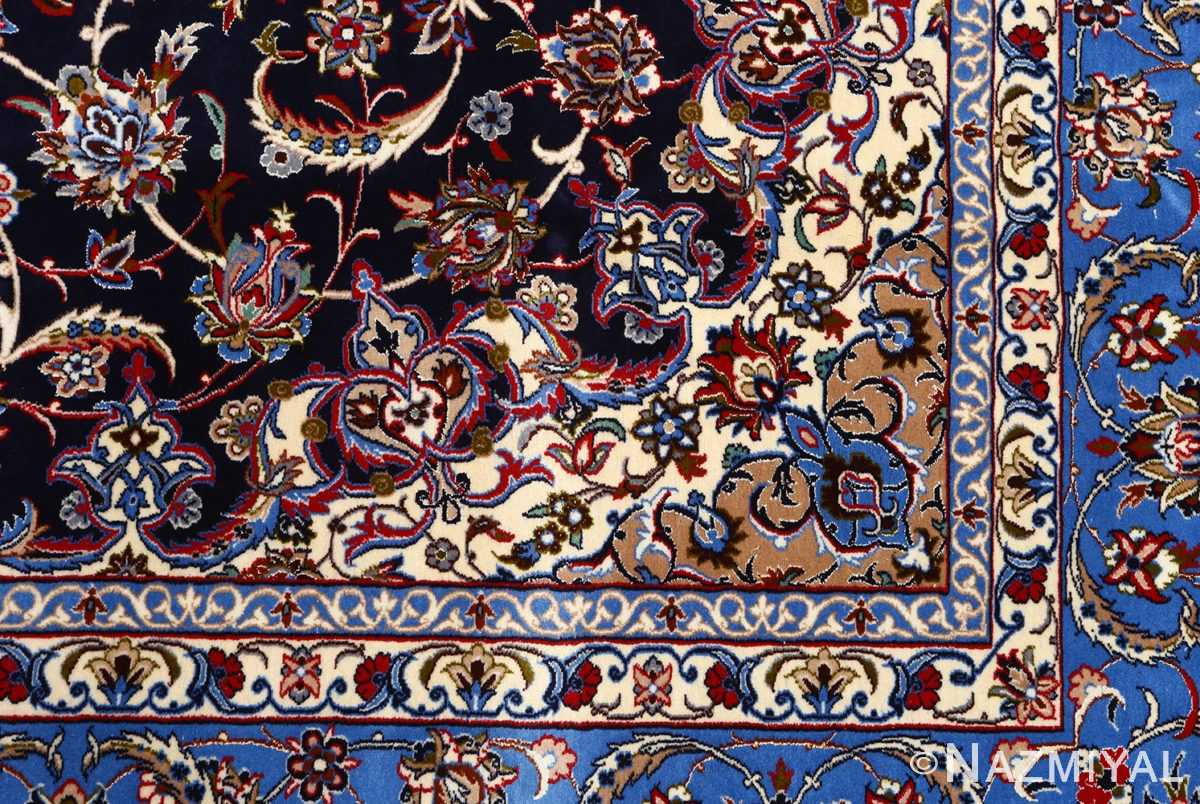 dark navy vintage isfahan persian rug 51141 part Nazmiyal
