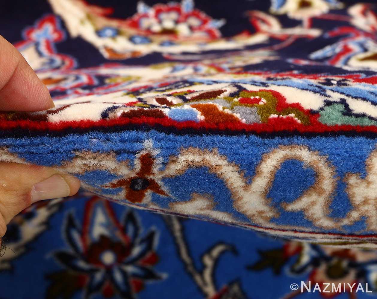 dark navy vintage isfahan persian rug 51141 pile Nazmiyal