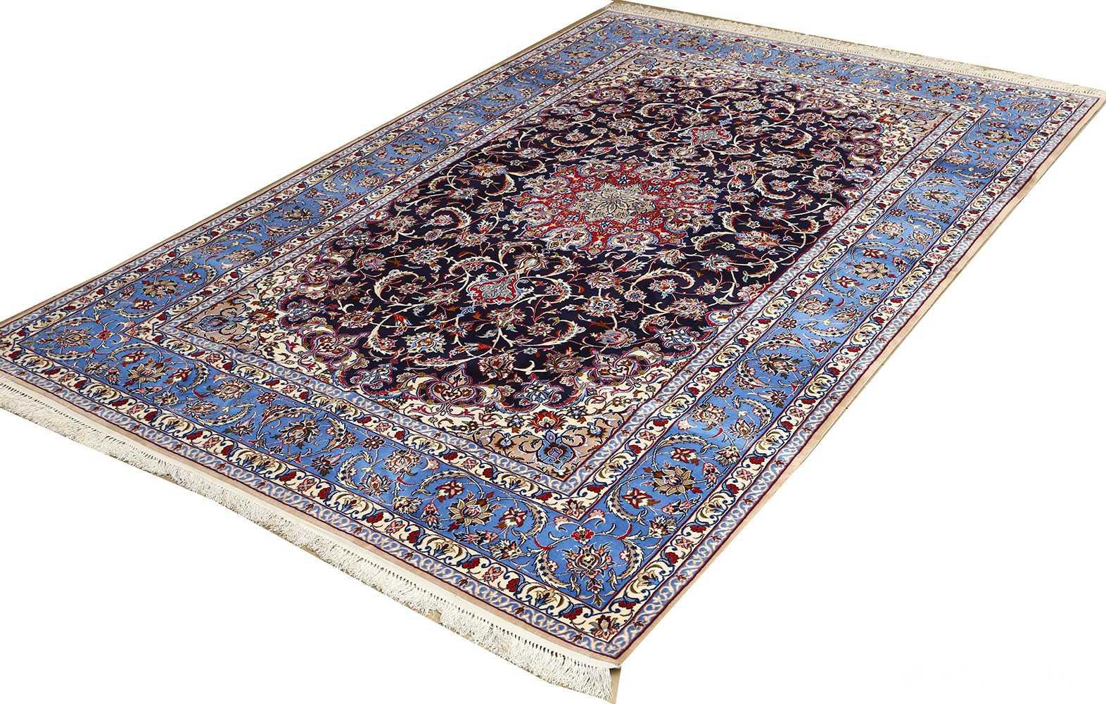 dark navy vintage isfahan persian rug 51141 side Nazmiyal