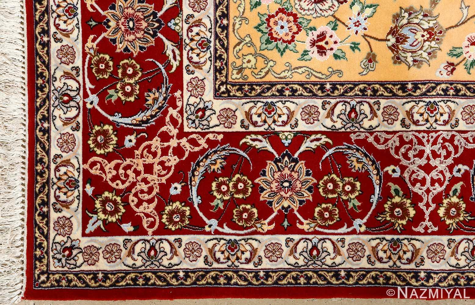 floral vintage isfahan persian rug 51152 corner Nazmiyal