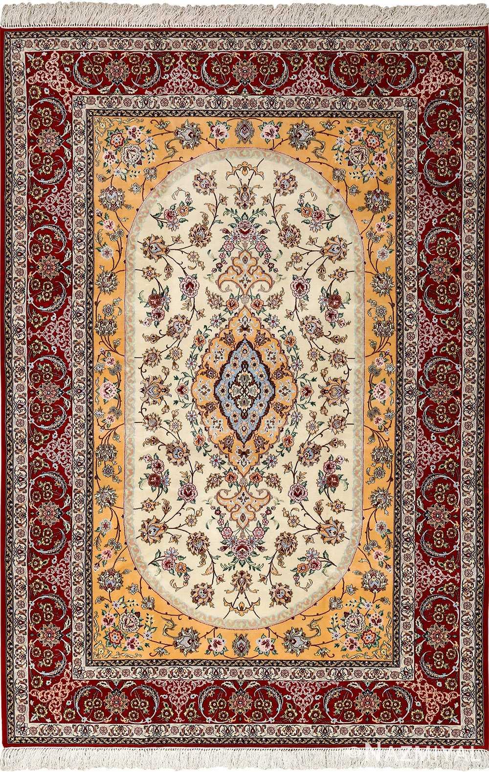 floral vintage isfahan persian rug 51152 Nazmiyal