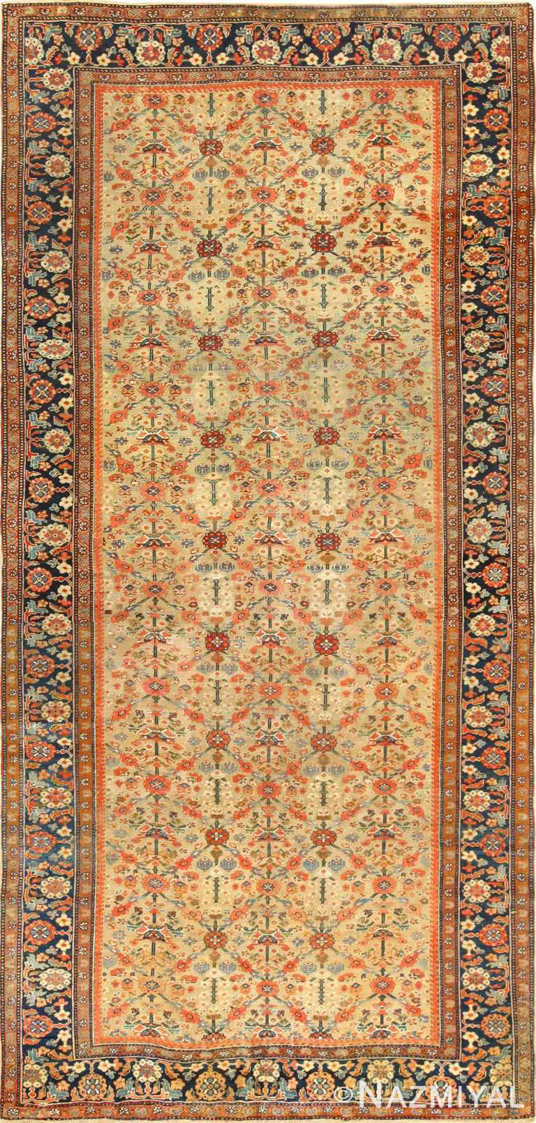 gold background antique sultanabad persian rug 49360 Nazmiyal