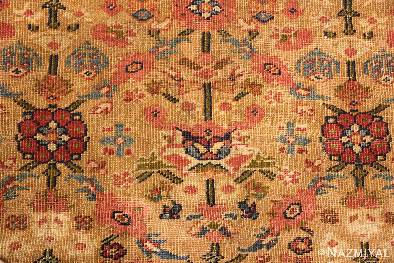 gold background antique sultanabad persian rug 49360 closeup Nazmiyal