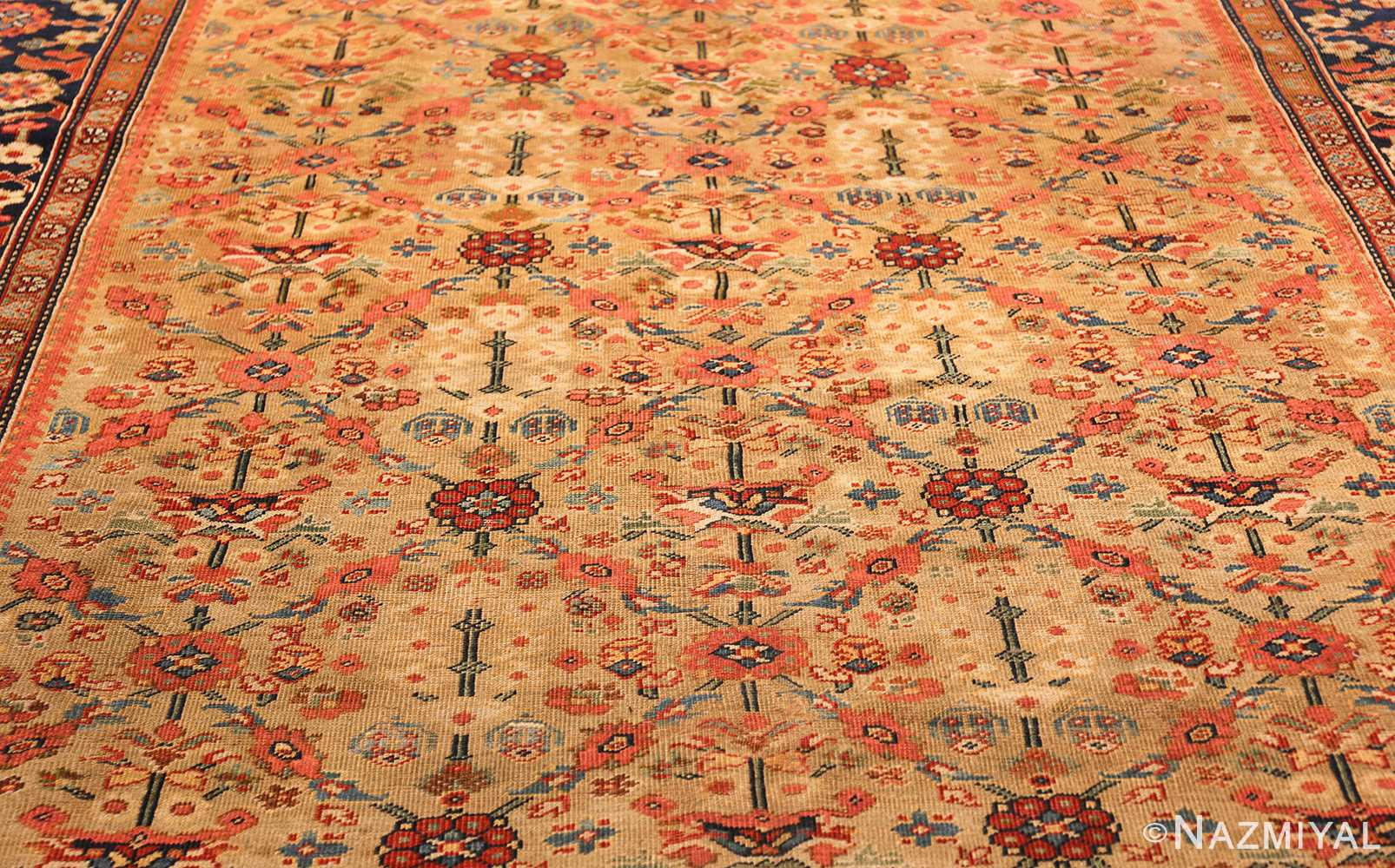 gold background antique sultanabad persian rug 49360 field Nazmiyal