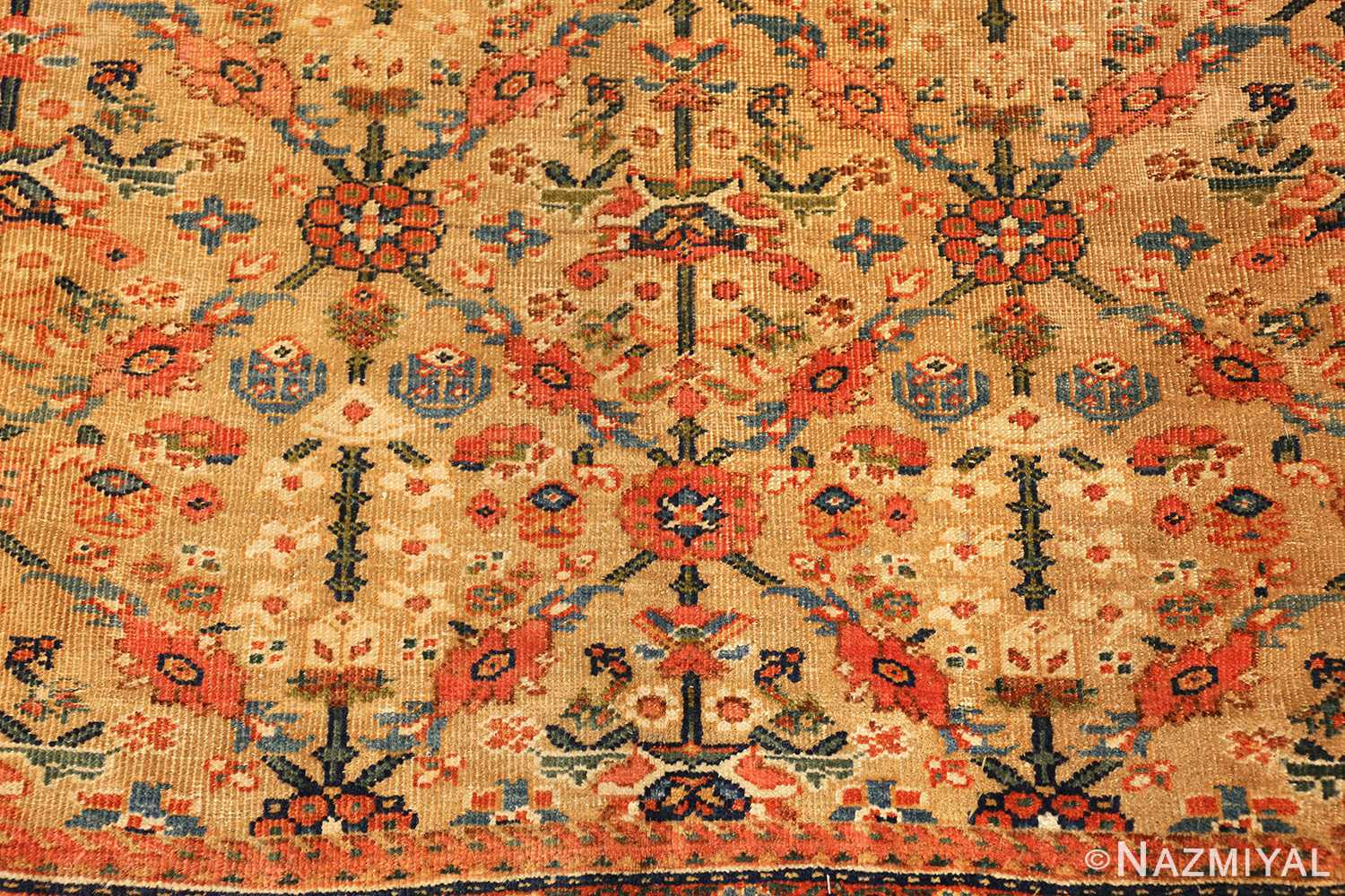 gold background antique sultanabad persian rug 49360 flower Nazmiyal