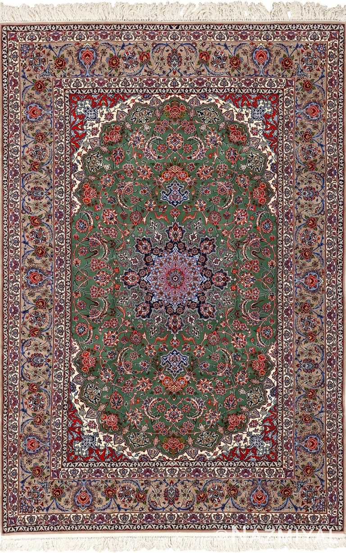 green background vintage isfahan persian rug 51153 Nazmiyal