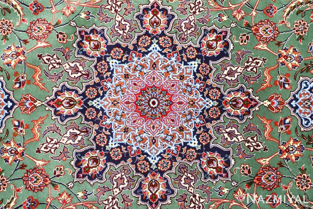 green background vintage isfahan persian rug 51153 center Nazmiyal