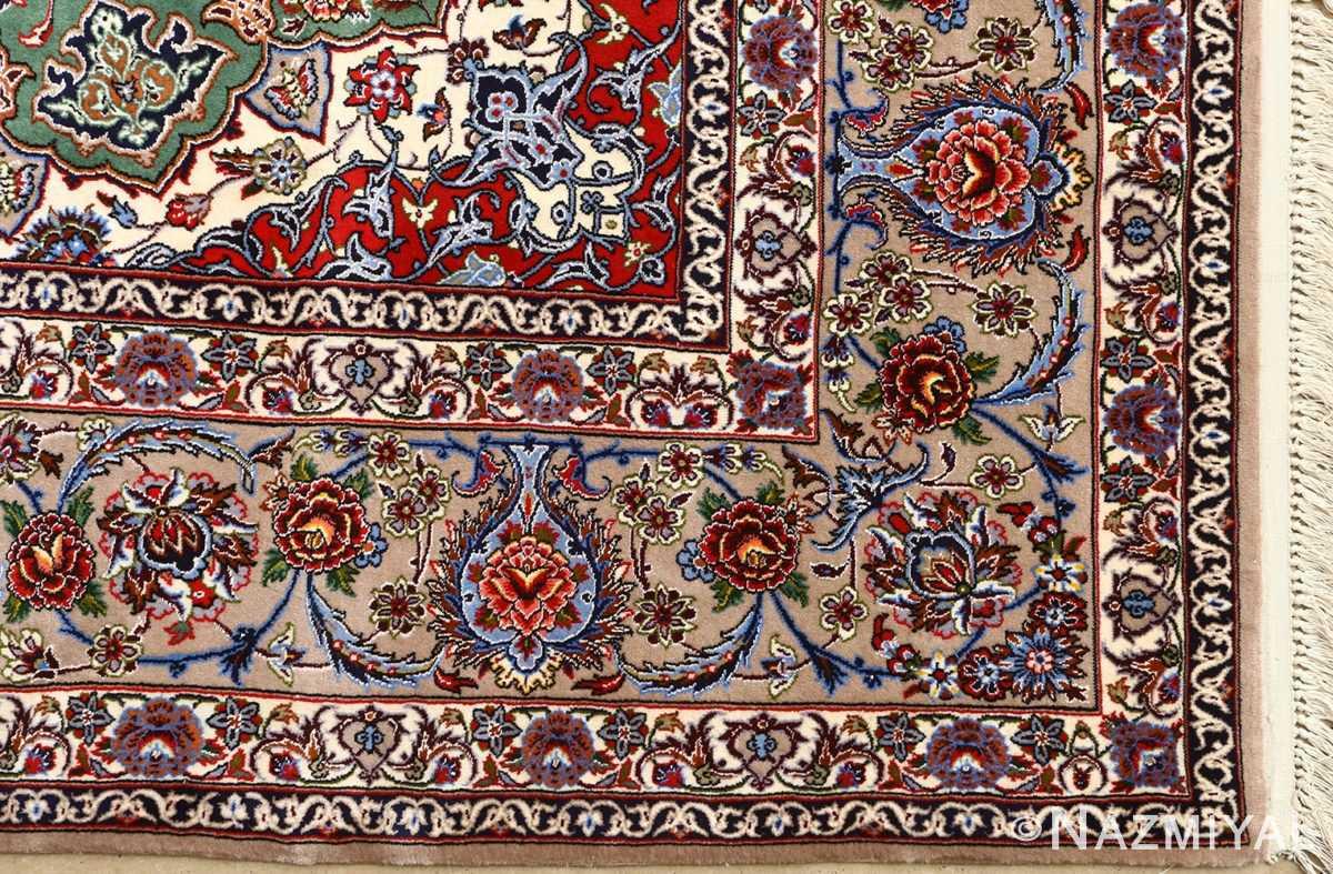 green background vintage isfahan persian rug 51153 corner Nazmiyal