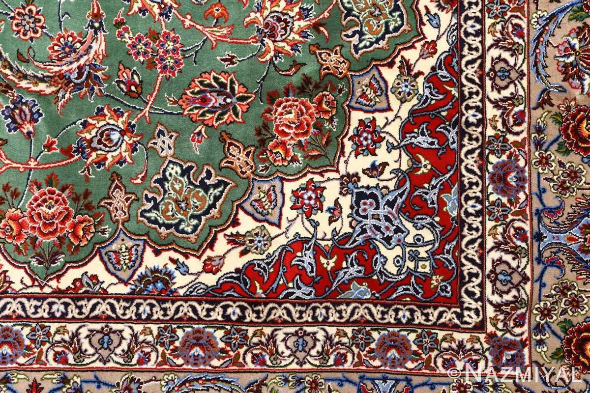 green background vintage isfahan persian rug 51153 design Nazmiyal