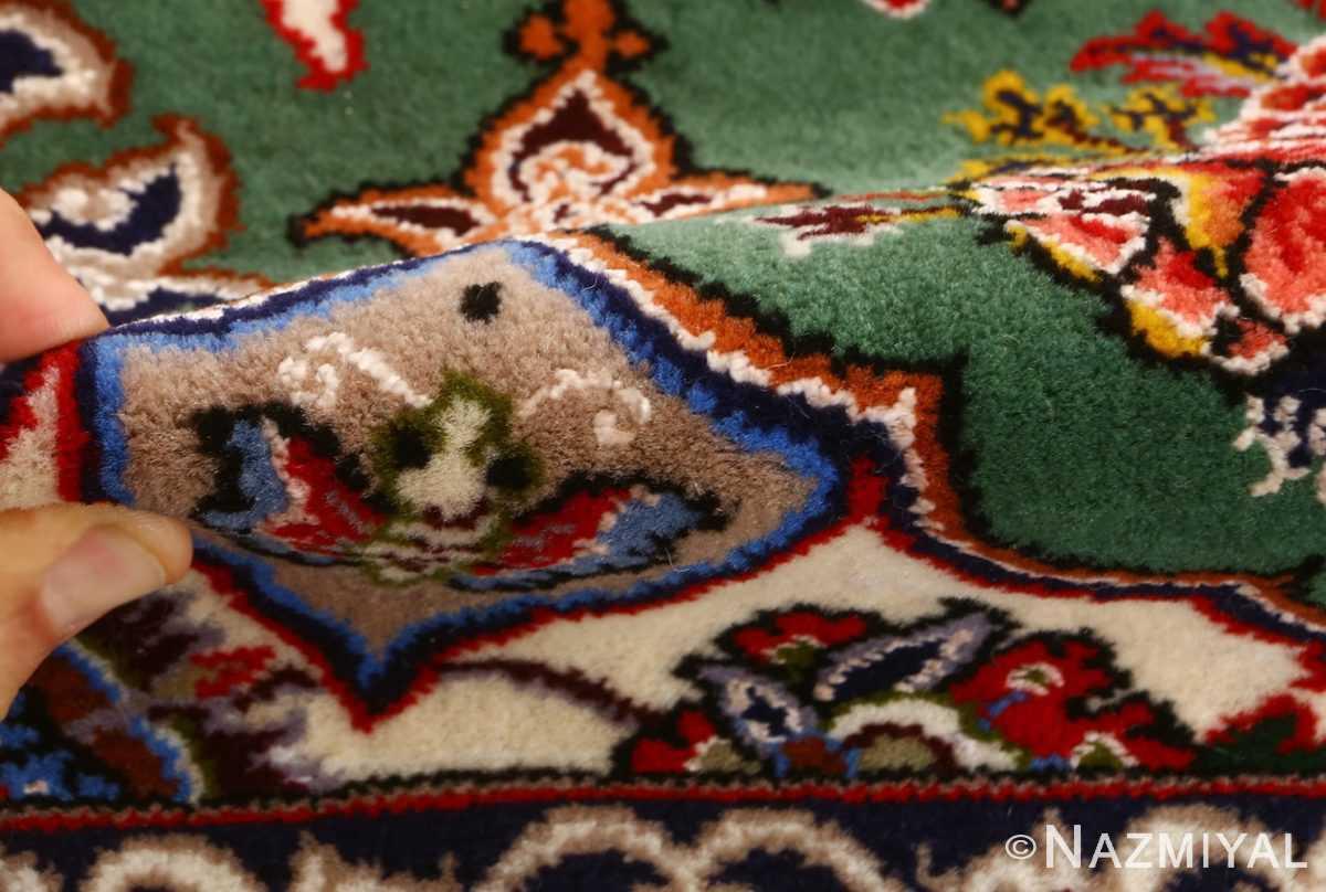green background vintage isfahan persian rug 51153 pile Nazmiyal