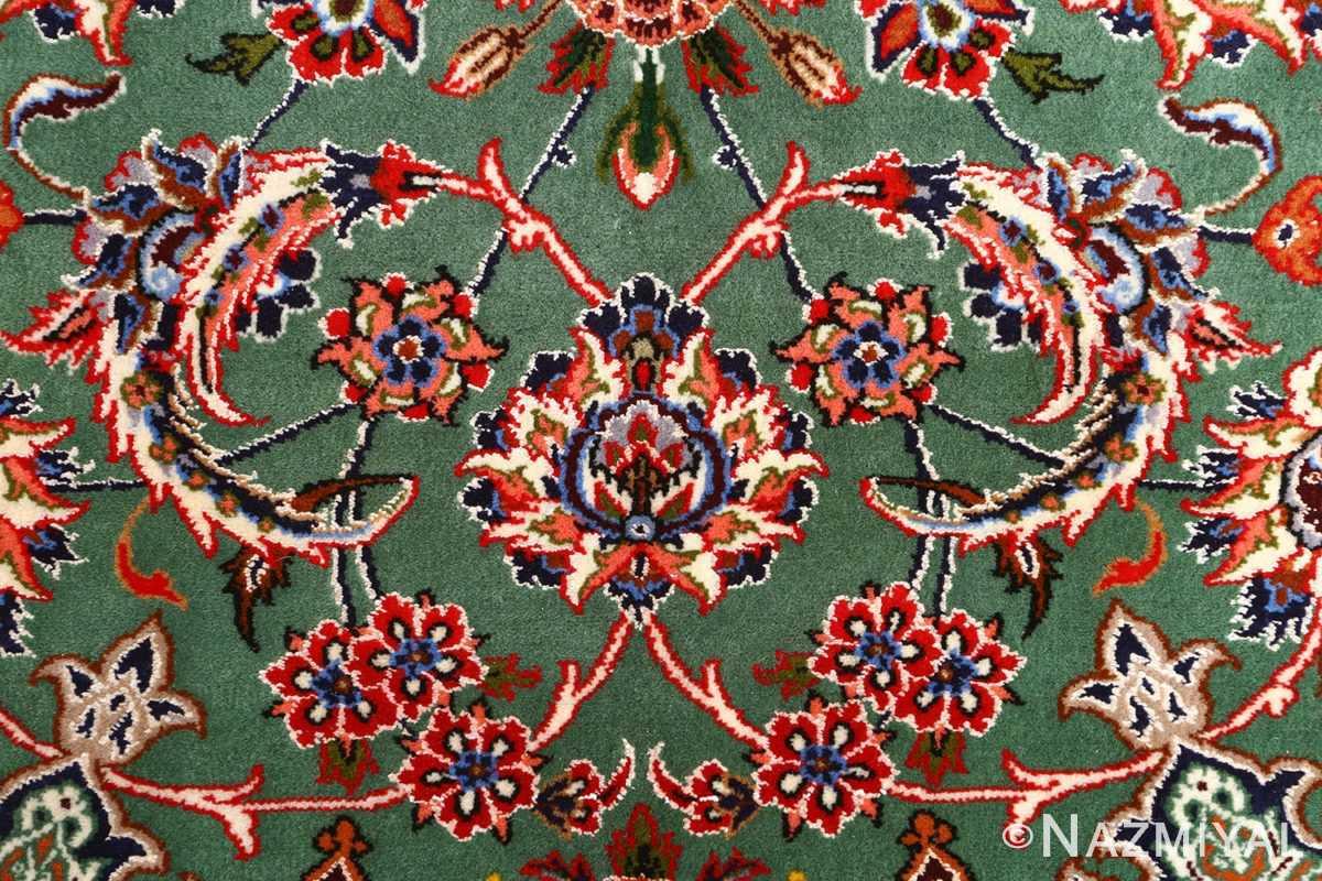 green background vintage isfahan persian rug 51153 scroll Nazmiyal