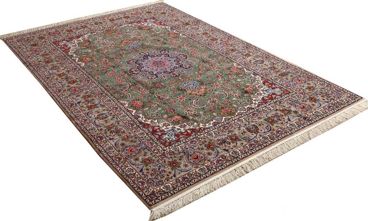 green background vintage isfahan persian rug 51153 side Nazmiyal