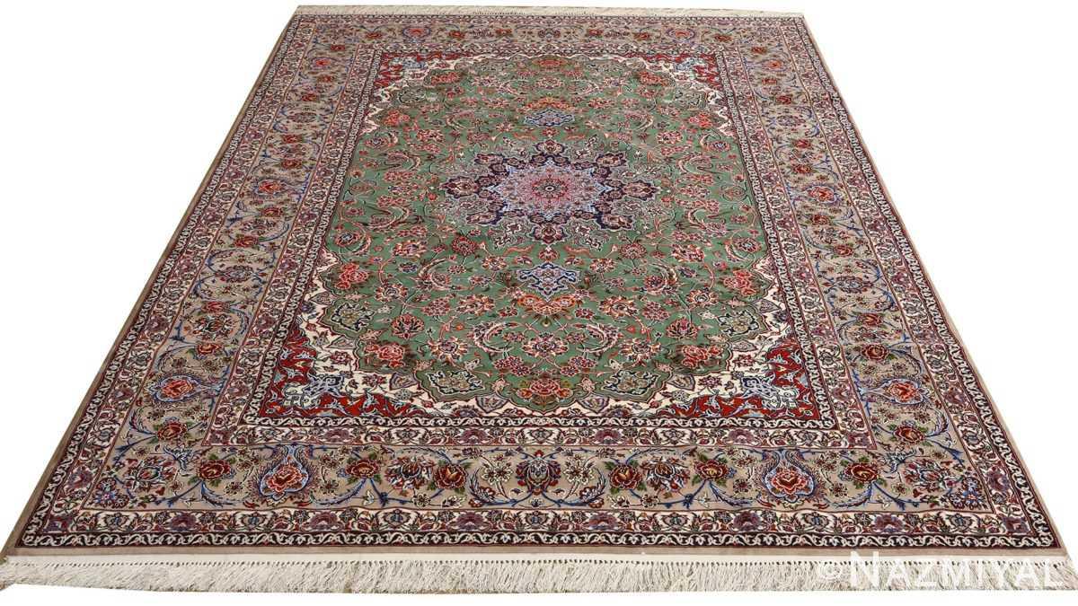 green background vintage isfahan persian rug 51153 whole Nazmiyal