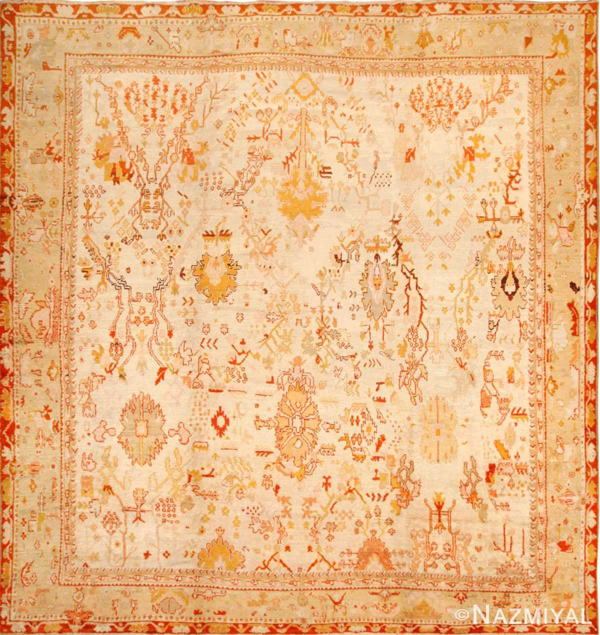 ivory antique oushak turkish rug 49323 Nazmiyal