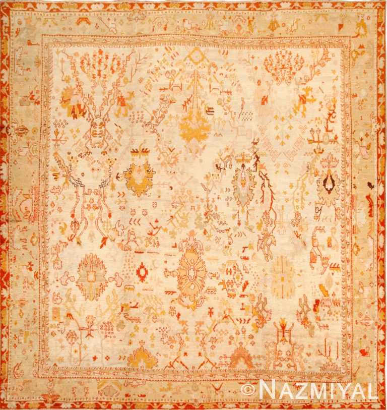 ivory antique oushak turkish rug 49323 Nazmiyal