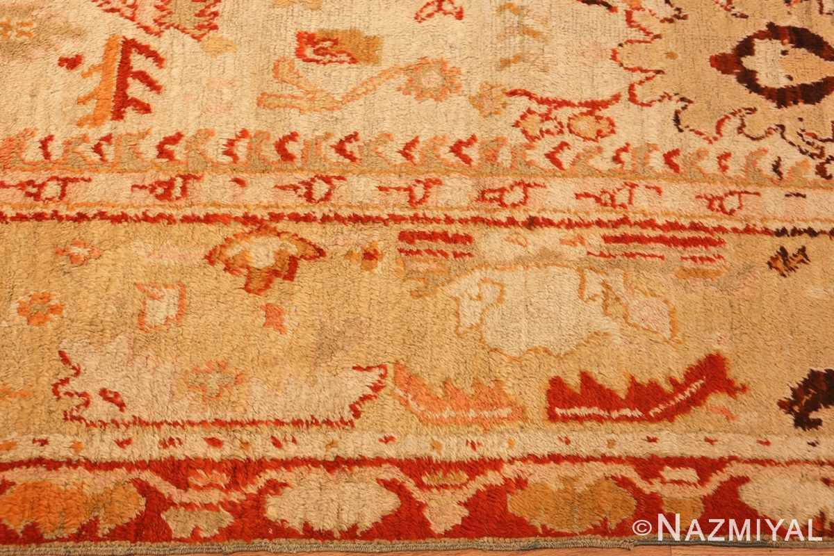 ivory antique oushak turkish rug 49323 border Nazmiyal