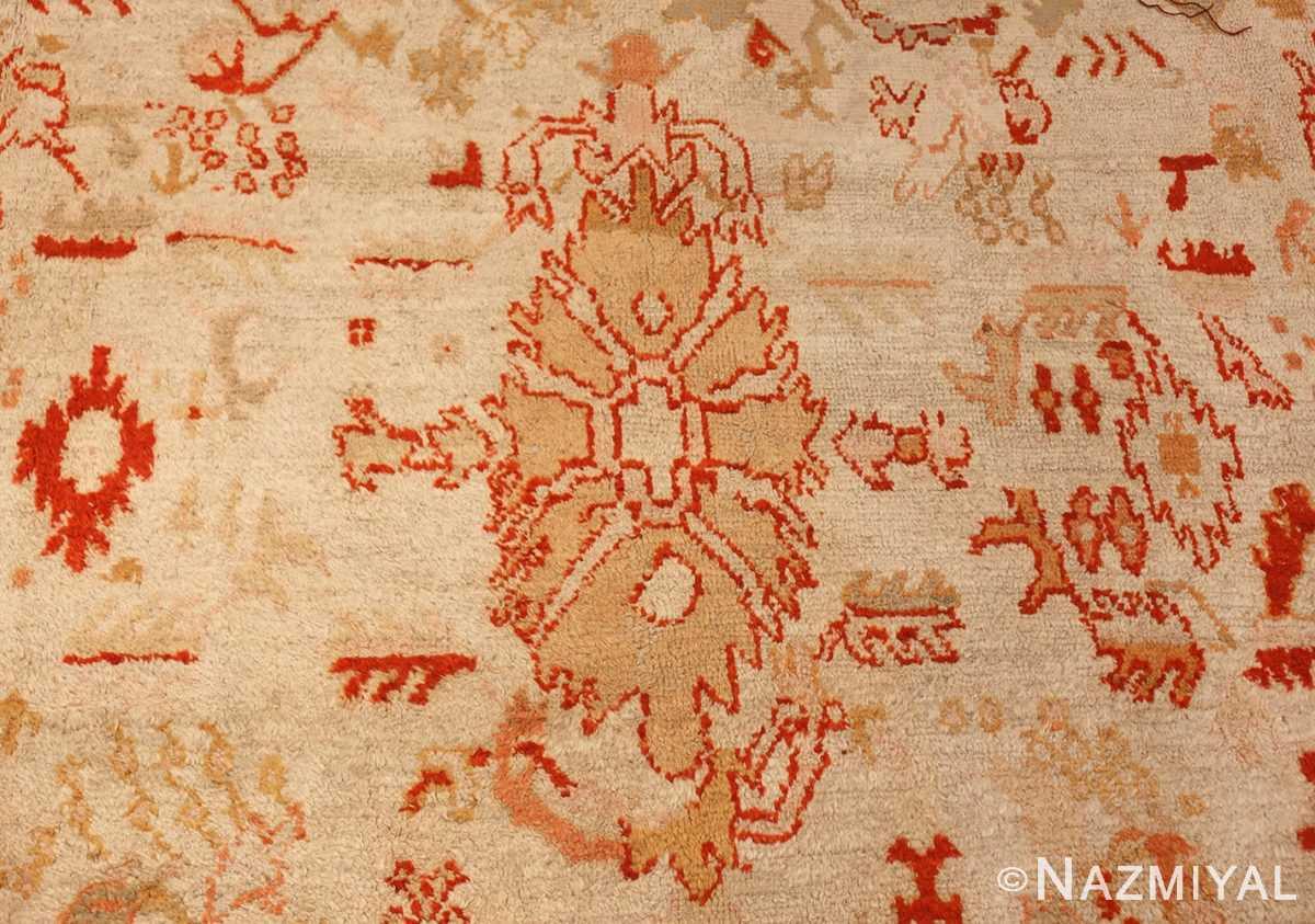 ivory antique oushak turkish rug 49323 closeup Nazmiyal