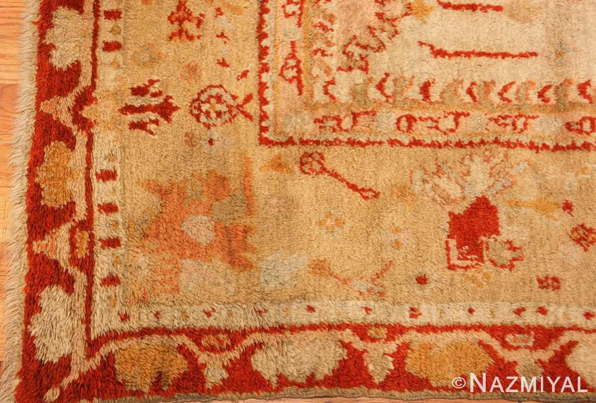 ivory antique oushak turkish rug 49323 corner Nazmiyal