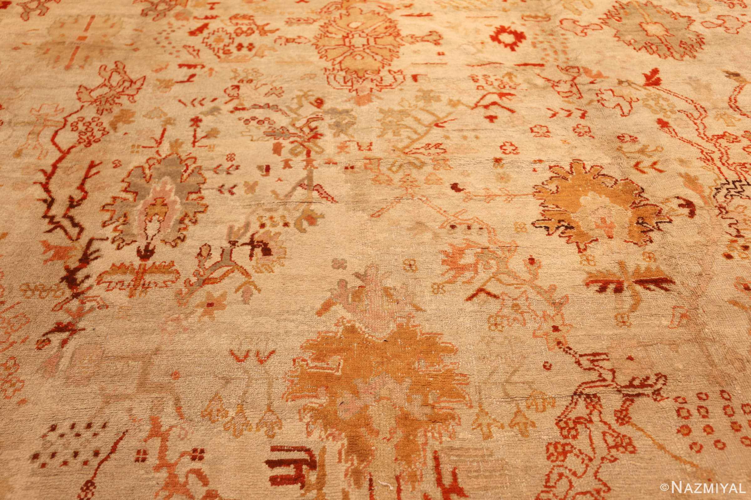 ivory antique oushak turkish rug 49323 field Nazmiyal