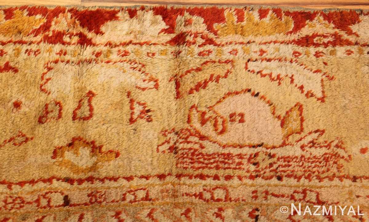 ivory antique oushak turkish rug 49323 fish Nazmiyal