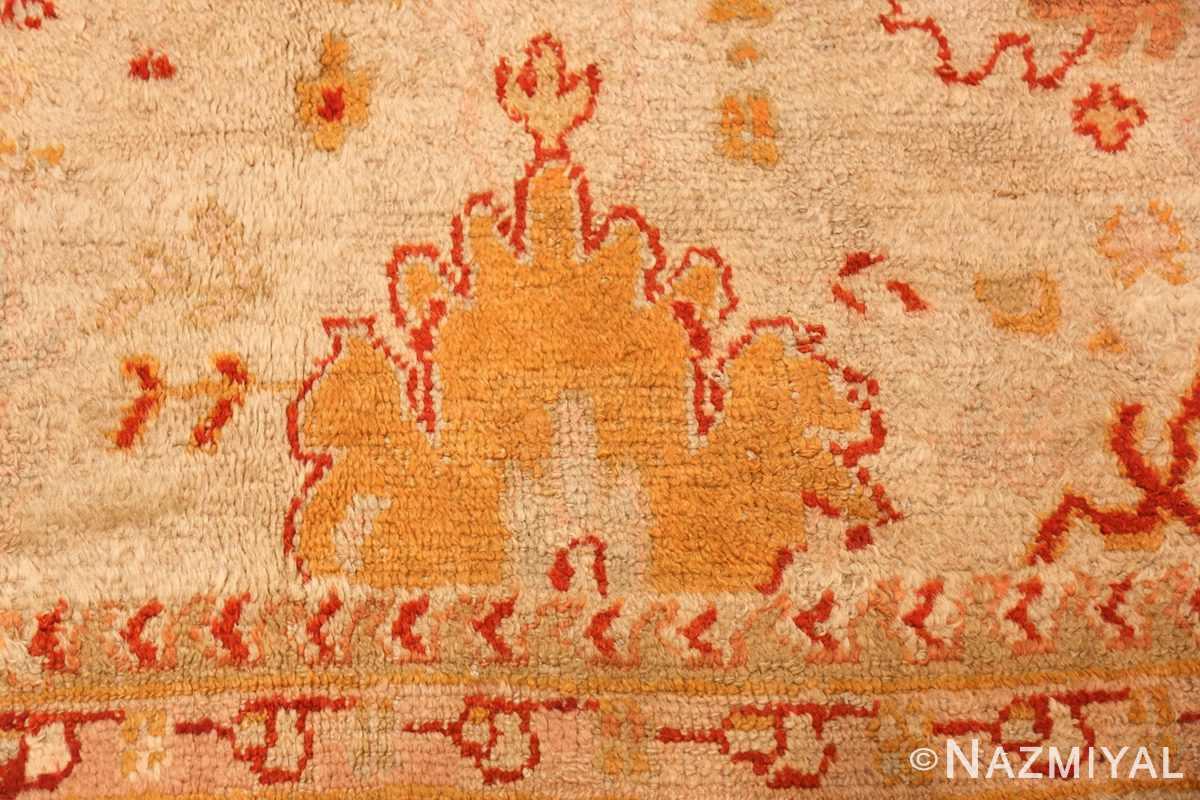ivory antique oushak turkish rug 49323 gold Nazmiyal