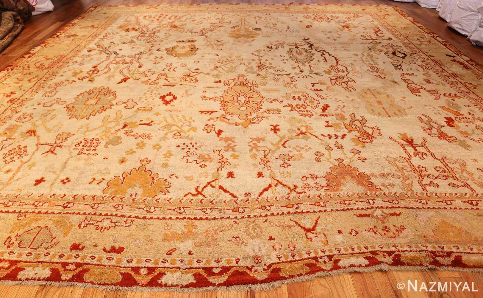 ivory antique oushak turkish rug 49323 whole Nazmiyal