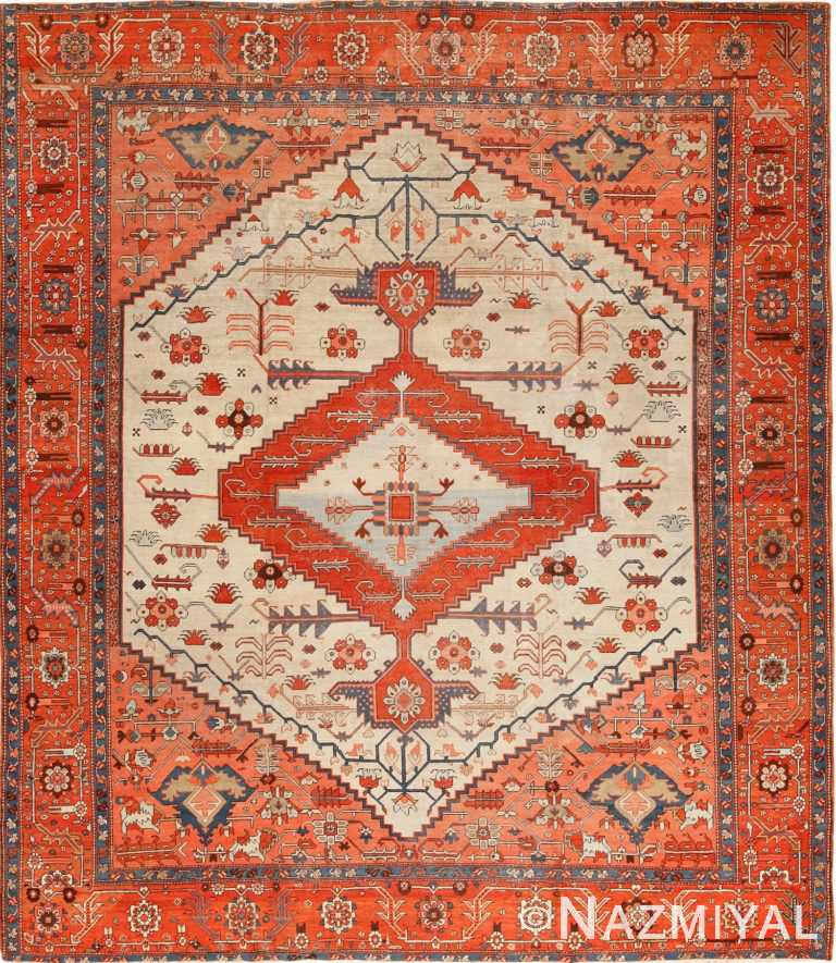 ivory antique serapi persian rug 49321 Nazmiyal