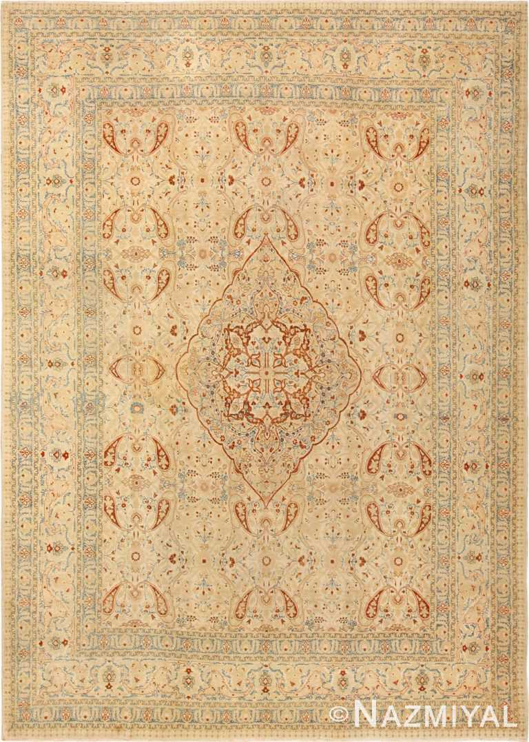 ivory background tabriz haji jalili rug 49347 Nazmiyal