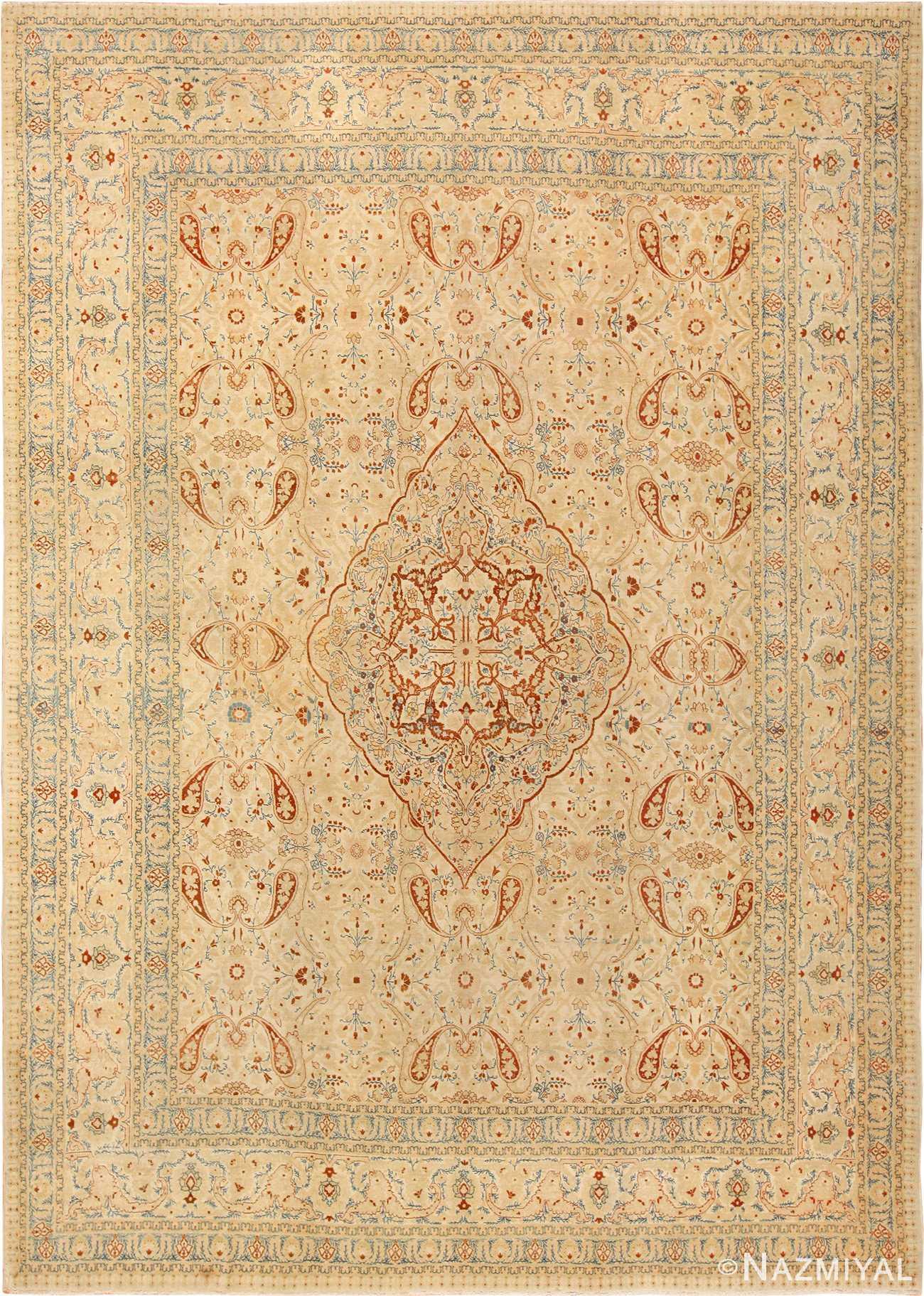 ivory background tabriz haji jalili rug 49347 Nazmiyal