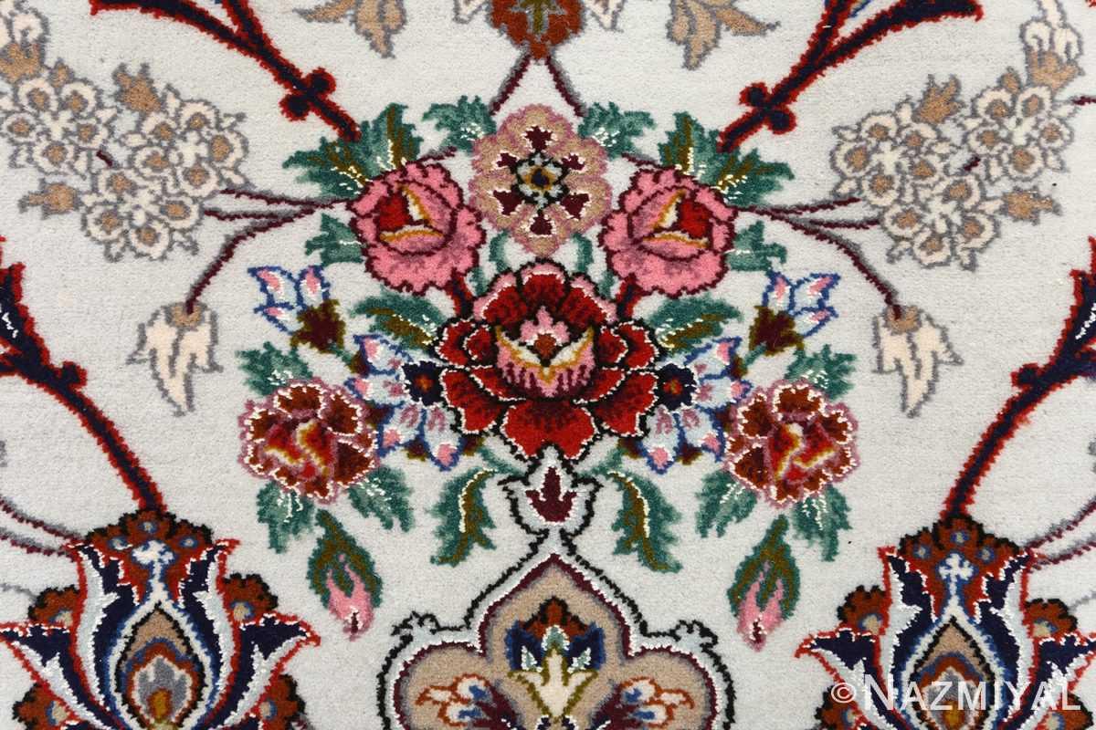 ivory background vintage isfahan persian rug 51161 bouquet Nazmiyal